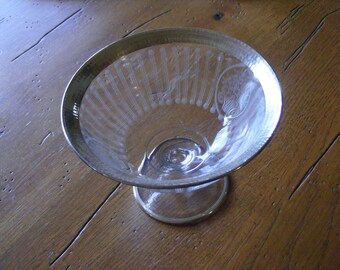 Etched Glass Pedestal Bowl with Sterling Silver Rim
