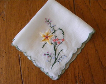 Vintage Handkerchief Embroidered with Flowers-Yellow, Pink and Blue Flowers-Bride-Bridal-Wedding