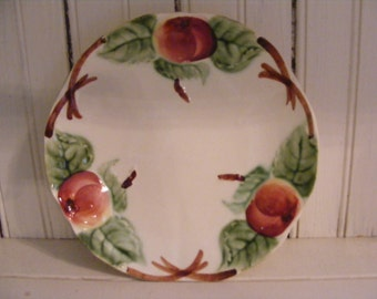 Plate with Apples and Leaves-Made in France