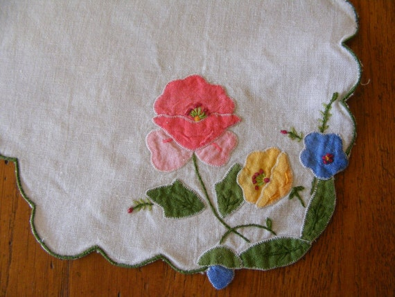 Vintage Handkerchief Appliqued with Flowers-Poppies