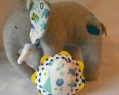 Elephant and Rattle set... Baby Boy... Fleece Stuffed Animal