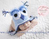 It's a BOY Newborn Baby Owl Hat with Earflaps and Ties Photography Prop
