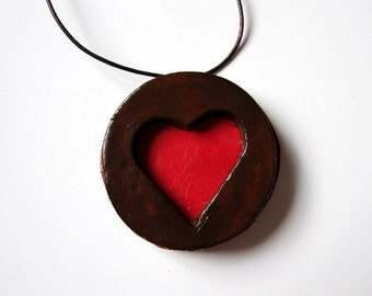 Red heart necklace, friendship, love, Valentines gift, Love is in the air, romance, for mum, polymer clay, biscuit, gift for her