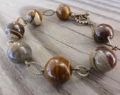 Bracelet - Antique Brass & Jupiter Jasper - Drops of Jupiter Bracelet