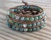 Leather Wrap Bracelet - Triple - Green Moss Agate - Beaded