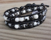 Beaded Leather Wrap Bracelet - Double - Black and White Zebra Jasper