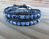 Sodalite Double Black Leather Wrap Beaded Bracelet - Blue and White