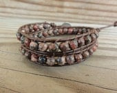 Leopardskin Jasper Double Beaded Leather Wrap Bracelet