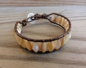 Mother of Pearl Shell Beaded Single Leather Wrap Bracelet