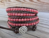 Coral Mountain Jade 5x Leather Wrap Bracelet (or choose your color)