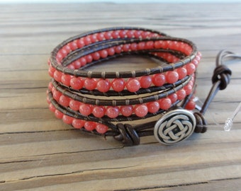 Coral Mountain Jade Triple Leather Wrap Bracelet - Beaded Wrap Bracelet