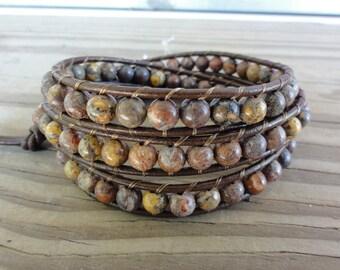 Leopardskin Jasper Triple Beaded Leather Wrap Bracelet with 6mm Beads
