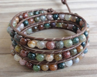 Triple Leather Wrap Bracelet with 6mm Fancy Jasper Beads