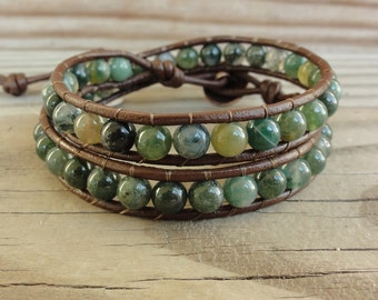 Green Moss Agate Double Beaded Leather Wrap Bracelet