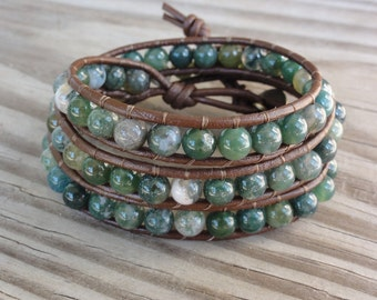 Leather Wrap Bracelet - Triple - Green Moss Agate - Beaded