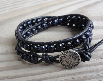 Blue Goldstone Double Leather Wrap Bracelet with Black Leather Cord
