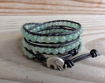 Green Aventurine Beaded Triple Leather Wrap Bracelet with Elephant Closure