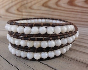 White Shell Triple Leather Wrap Bracelet