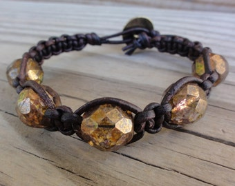 Brown Leather Macrame Bracelet with Copper Luster Faceted Czech Glass Beads - Single Leather Wrap
