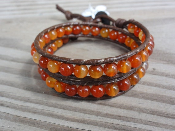 Leather Wrap Bracelet Double Beaded Red Agate