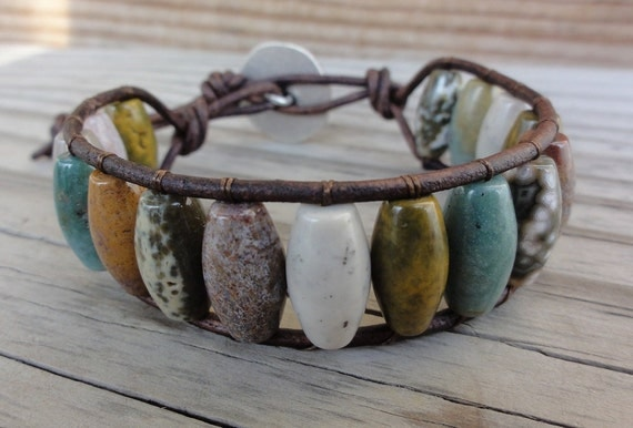 Ocean Jasper Beaded Single Leather Wrap Bracelet Cuff - Ladder Bracelet