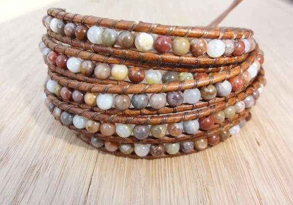 Bamboo Agate Beaded 5x Leather Wrap Bracelet