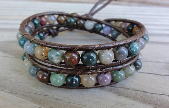 Fancy Jasper Double Leather Wrap Beaded Bracelet