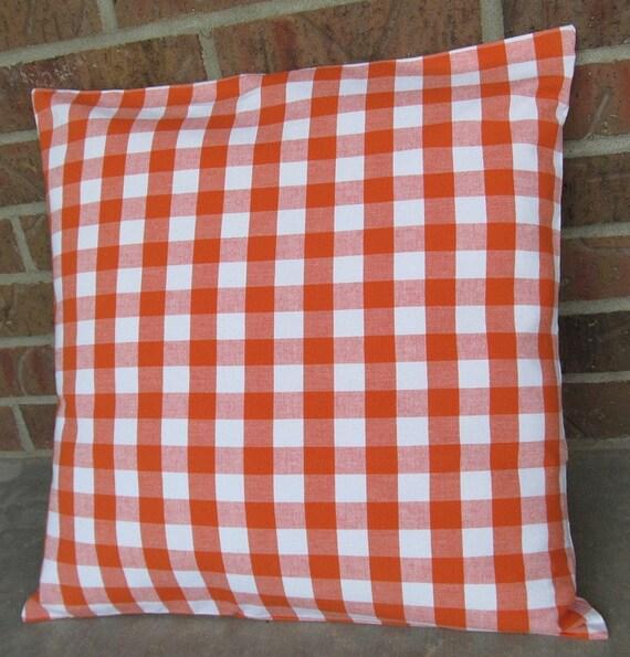 Cottage Chic Decorative Pillow Gingham Check Orange & White