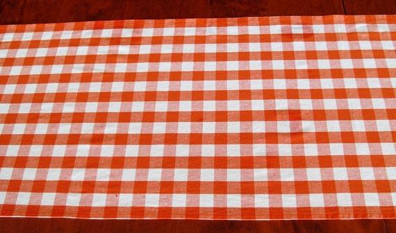 "Tabletop Cottage Chic Table Runner Orange Gingham Check 90"""