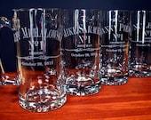 Five Beer Mugs for Groom's Men Party Set of Five Custom Engraved Beer Mugs