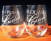 Wine Glasses, Stemless, Seven Custom Engraved for Bridal Party