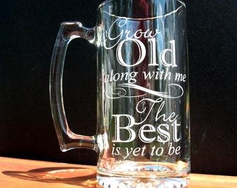 Two Custom Engraved Glass Beer Mugs. Great Wedding Gift Idea