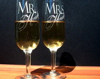 Two Custom Engraved Wedding Champagne Flutes~ Toasting Flutes ~ Mr. & Mrs. Champagne Glasses