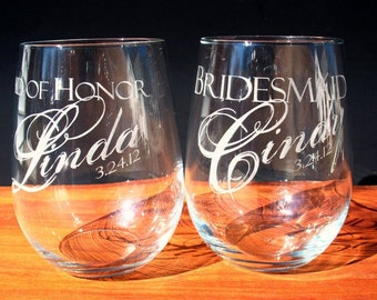Wine Glasses, Stemless, Six Custom Engraved for Bridal Party