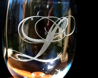 Two Custom engraved monogram wine glasses