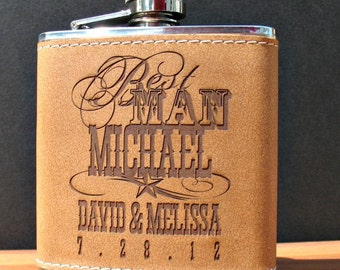 6 Leather Flasks ~ Personalized Groomsman Gift ~ Free Custom Engraving ~ 6 oz Leather and Stainless Steel Flask ~