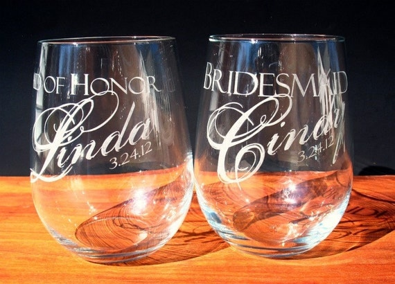 Wine Glasses, Stemless, Three Custom Engraved for Bridal Party