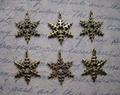 Holiday / Christmas Snowflake Charms / Pendants in Bronze Tone - set of 6 - C1010