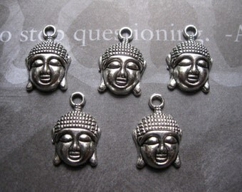 25 Buddha Charms in Silver Tone - C468 BULK
