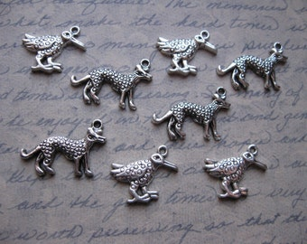 SALE - 8 Primitive Animal Charms in Silver Tone - C1132