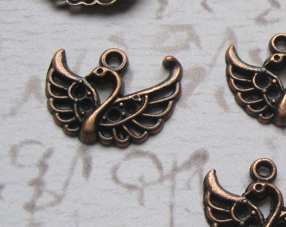 Swan Charms Pendants in rich copper tone - set of 10 - C085