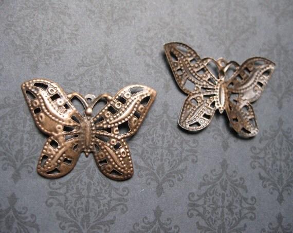 SALE - Butterfly Pendants / Charms in Copper Tone - C540