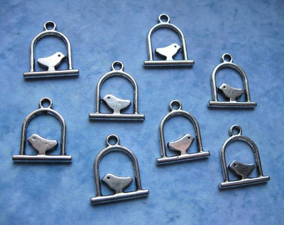 8 Perched Bird Charms / Pendants in Silver Tone - C1208