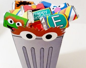 Instant Download Oscar the Grouch inspired- PRINTABLE PARTY - Treat Popcorn Box