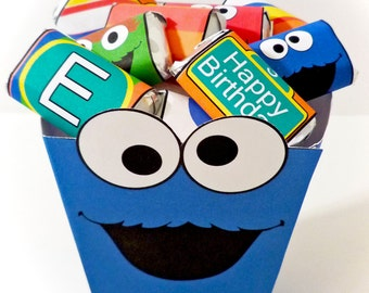 Instant Download Cookie Monster Sesame Street inspired - PRINTABLE PARTY - Treat Popcorn Box