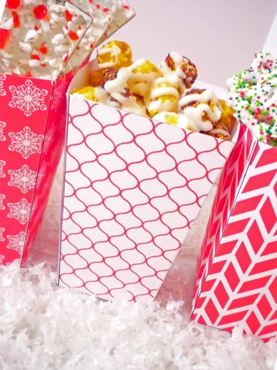 Christmas Treat Popcorn Boxes - Peppermint Christmas PRINTABLE Party