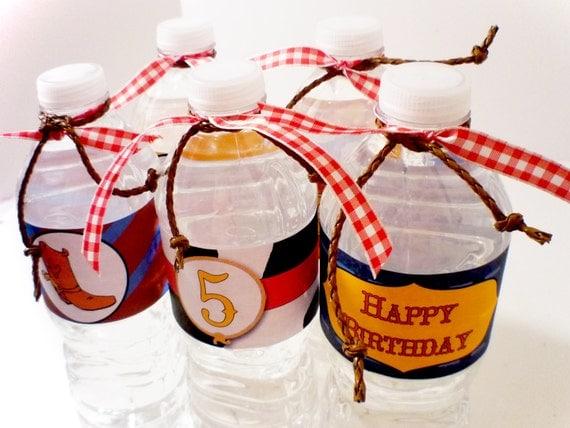 Cowboy Western Digital Party PRINTABLE DIY Birthday Drink Labels