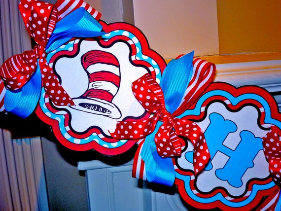 Red and Blue Cat hat  Printable Party Birthday DIY Banner