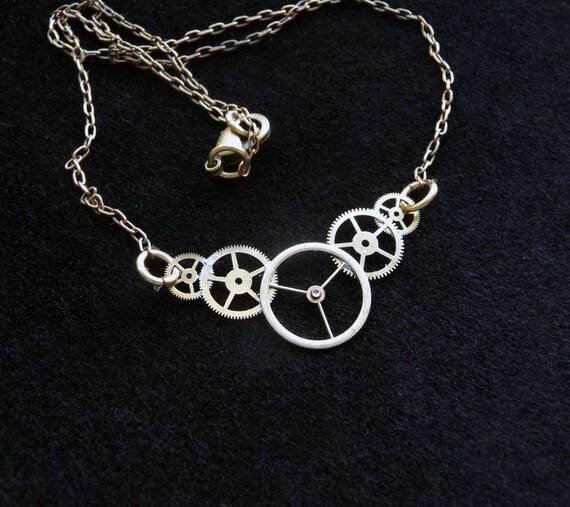 "Clockwork Pendant ""Aero"" Recycled Mechanical Watch Gears Intricate Parts Sculpture Wearable Art Steampunk Necklace A Mechanical Mind OOAK"