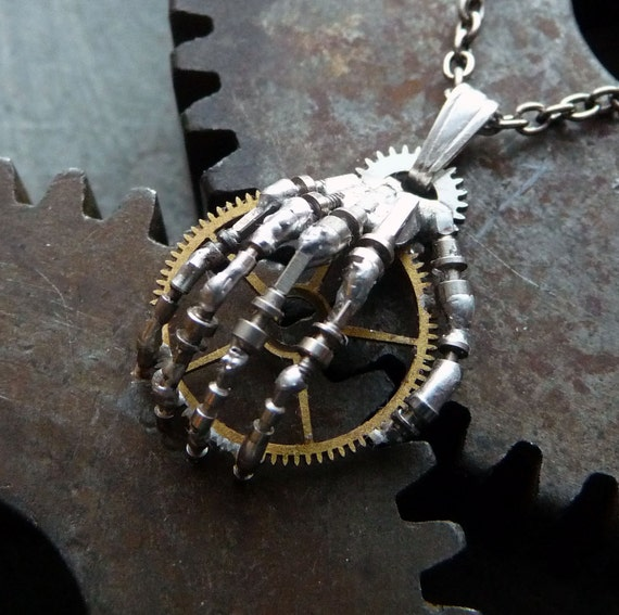 "Steampunk Pendant Hand ""The Machine"" Robotic Skeleton Hand Necklace Watch Stem Metal Sculpture A Mechanical Mind Skeletal Terminator"